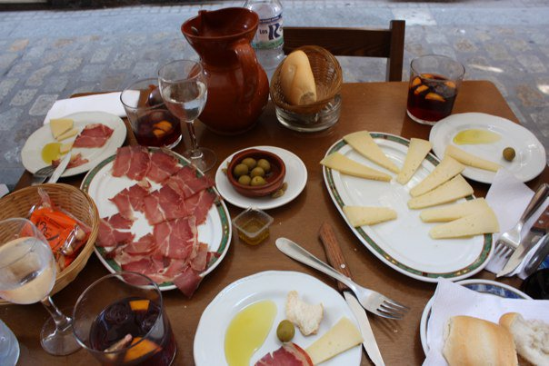 Spanish lunch with tapas and pinxos