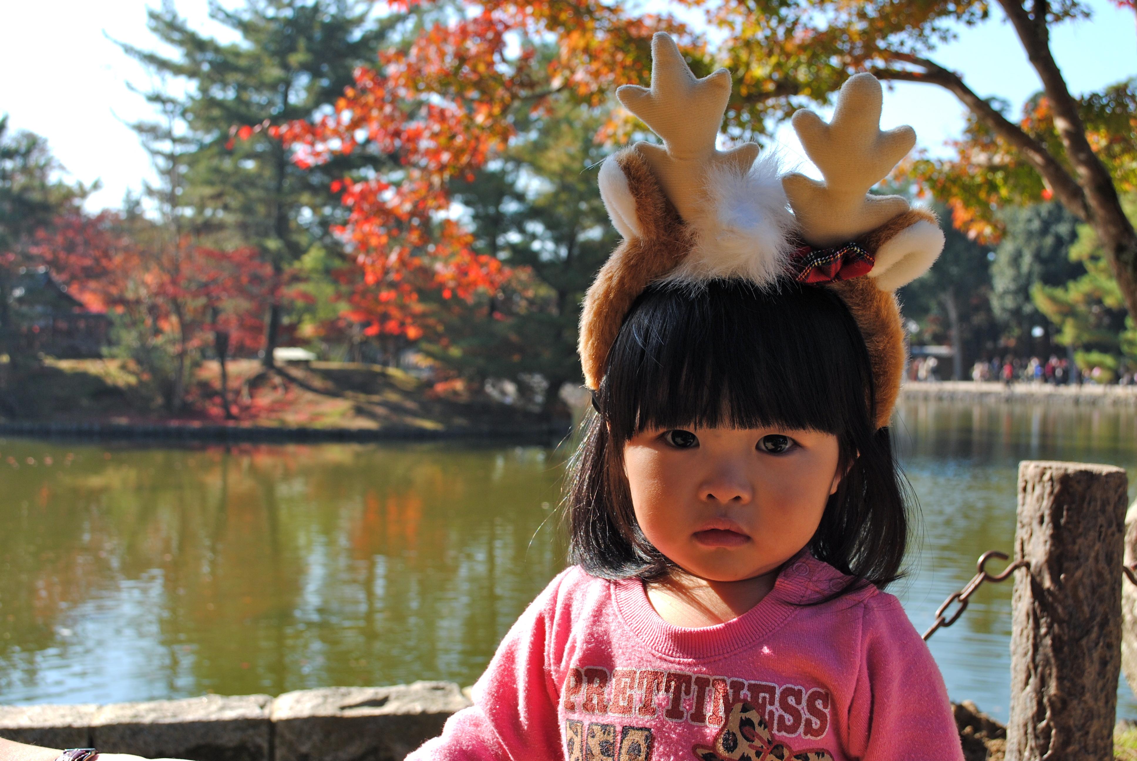 Child Wearing Deer Headband Nara, Japan
