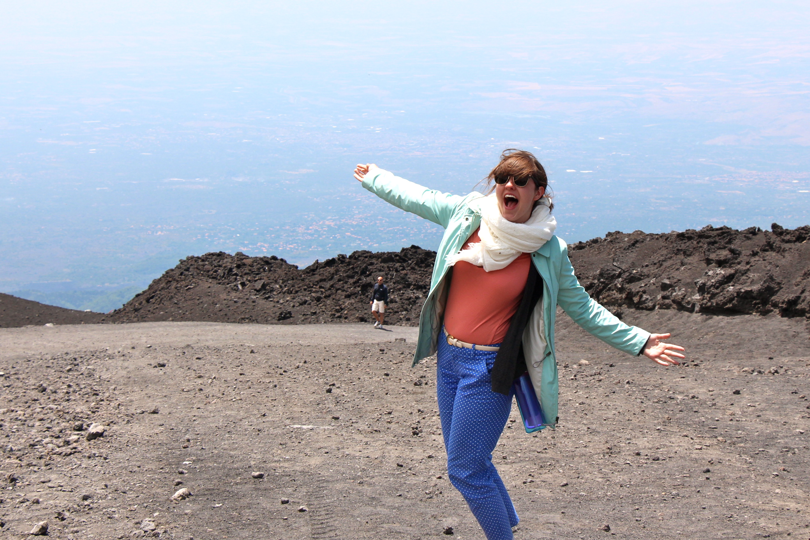 Young Woman Hiking Mount Etna Sicily