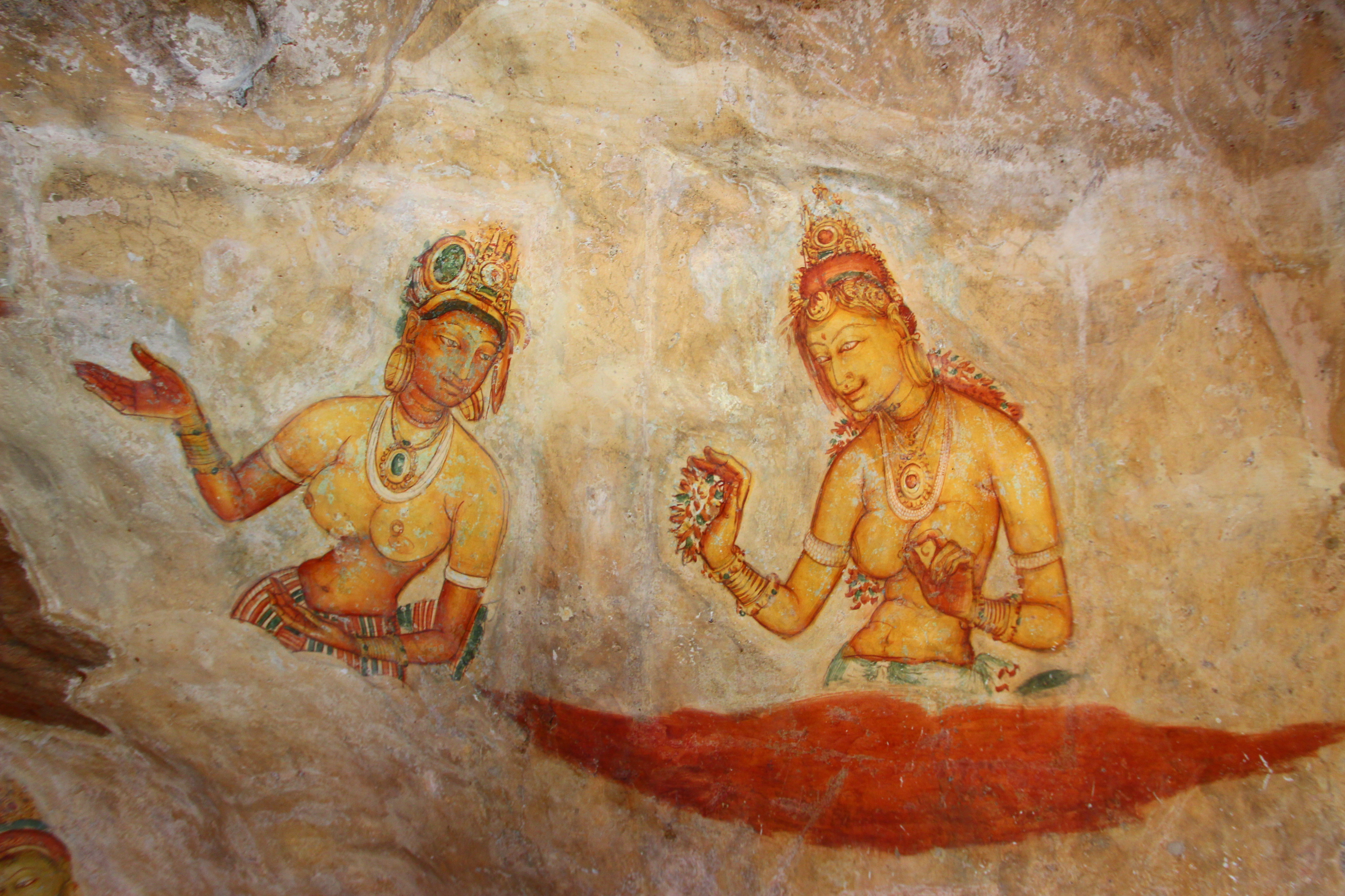 Rock Paintings Sigiriya Sri Lanka