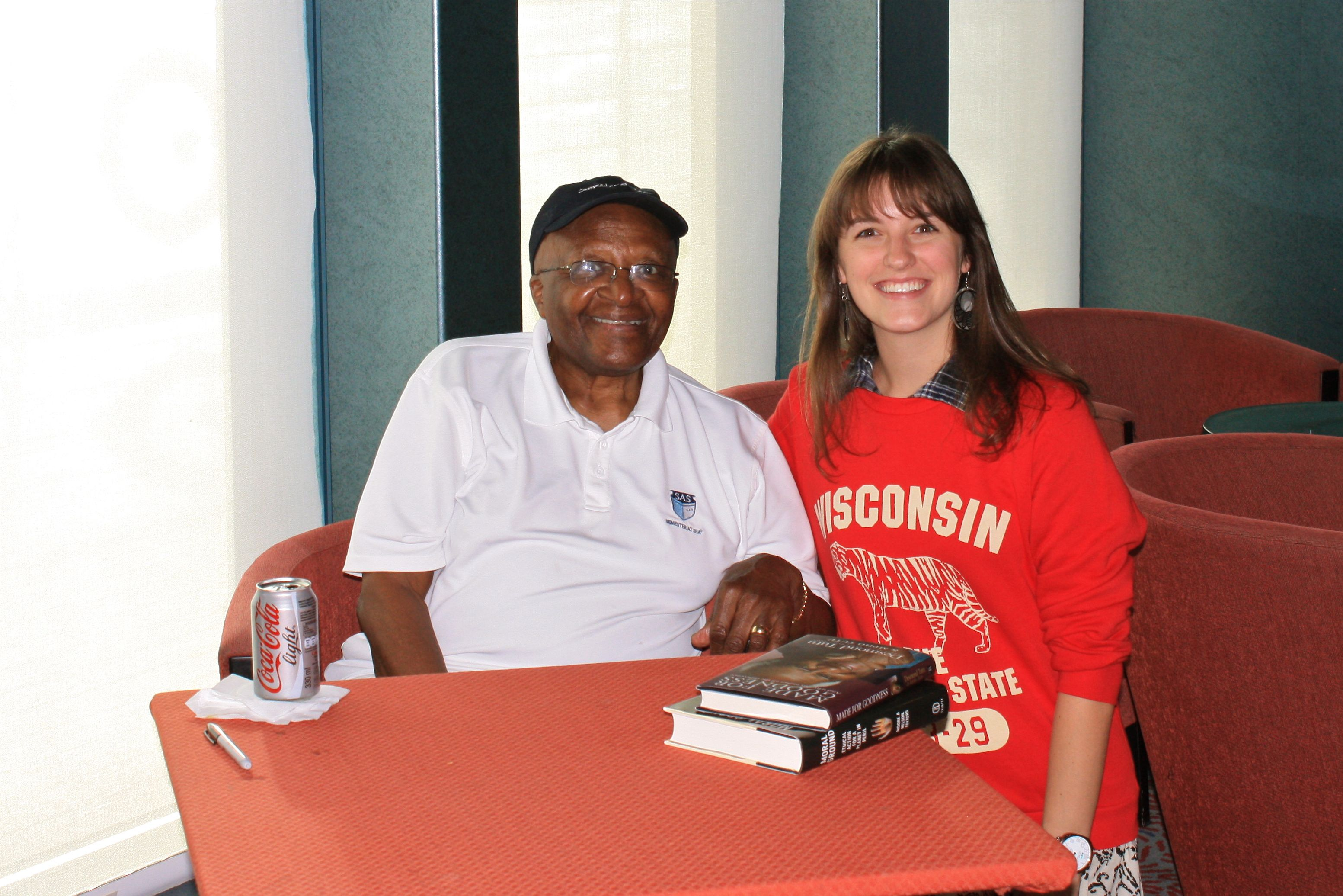 Young White Student with Archbishop Desmond Tutu on Semester at Sea