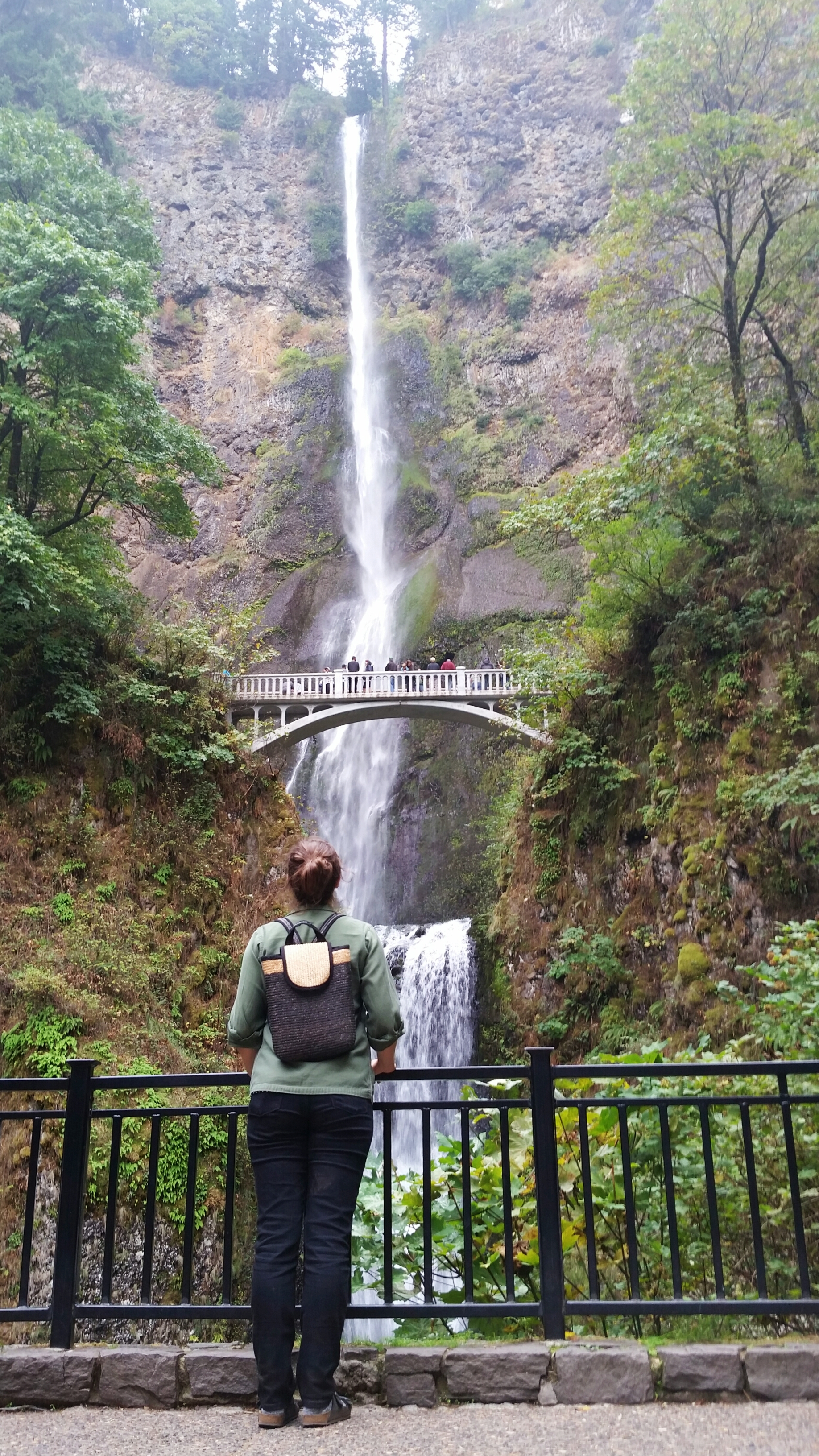 Young Woman at Multnomah Falls Portland Oregon