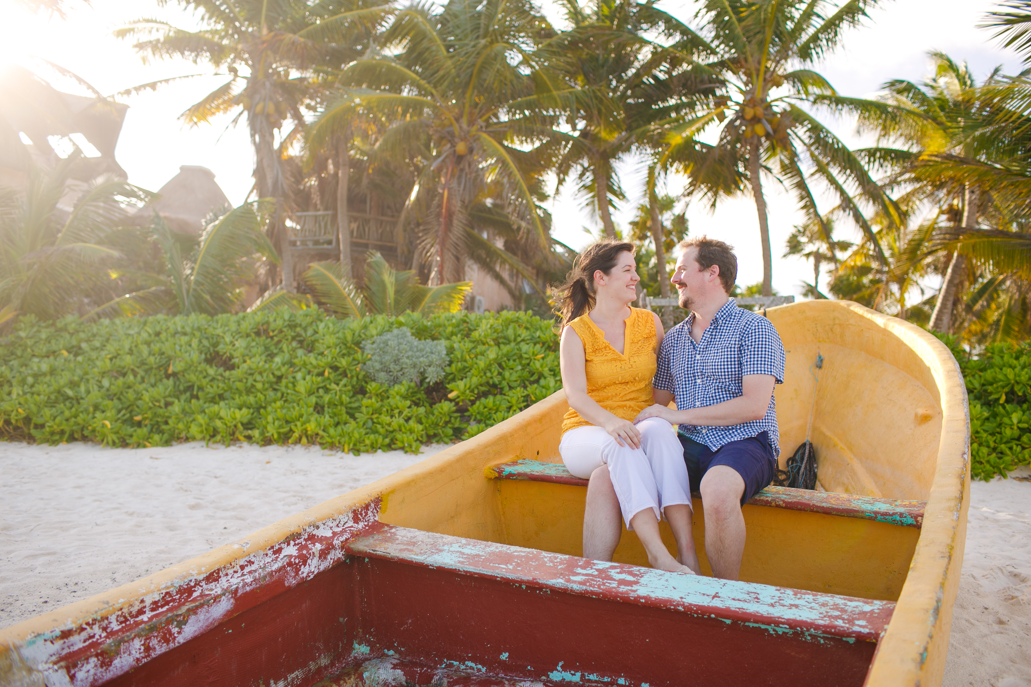Young Couple Smiling at Sunset Beach Tulum Mexico