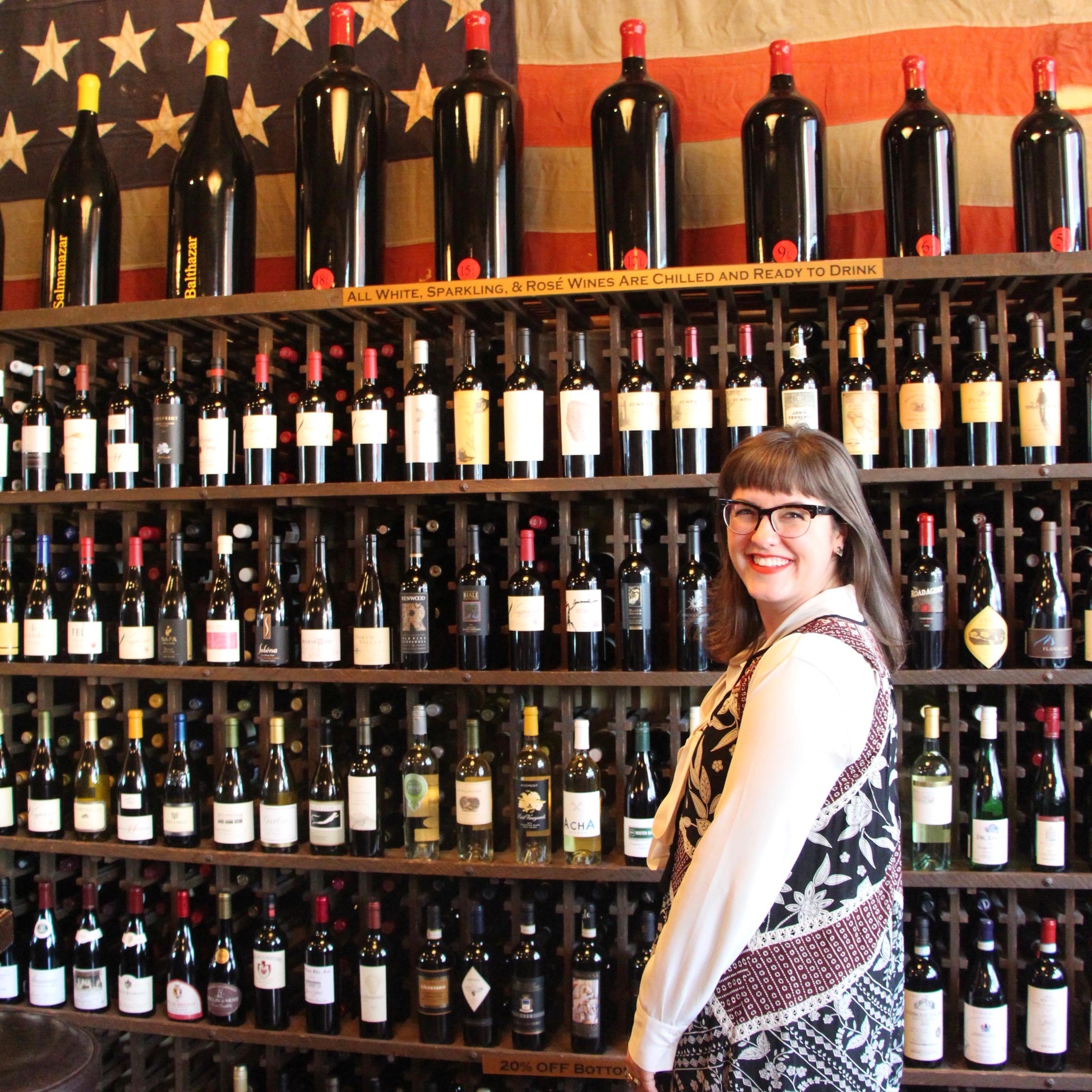 Megan with Napa California Wine Wall