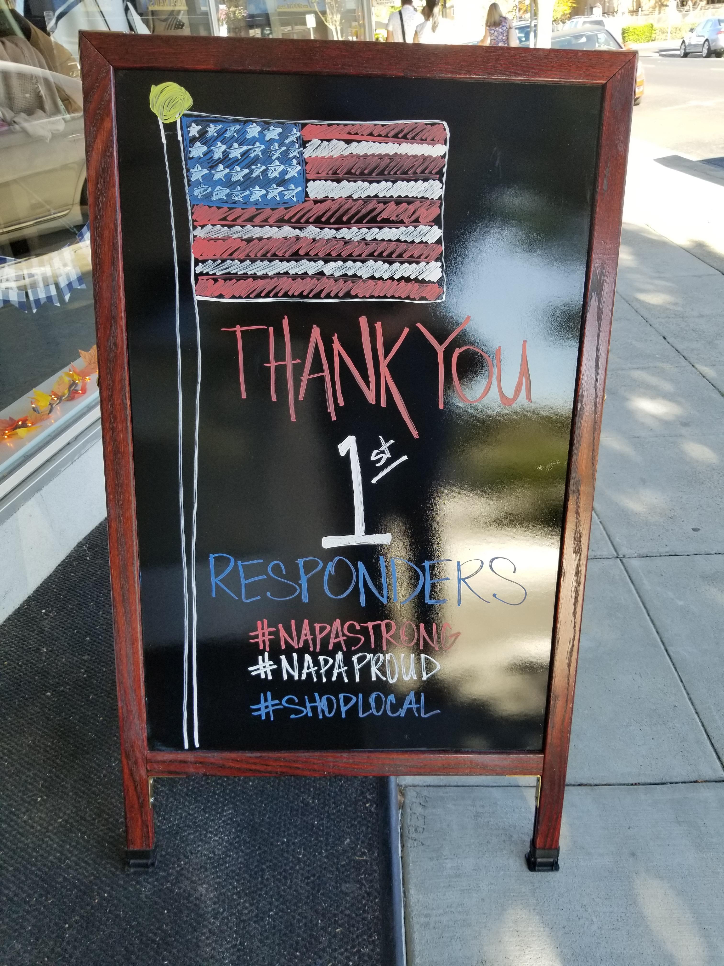 Napa California First Responders Sign