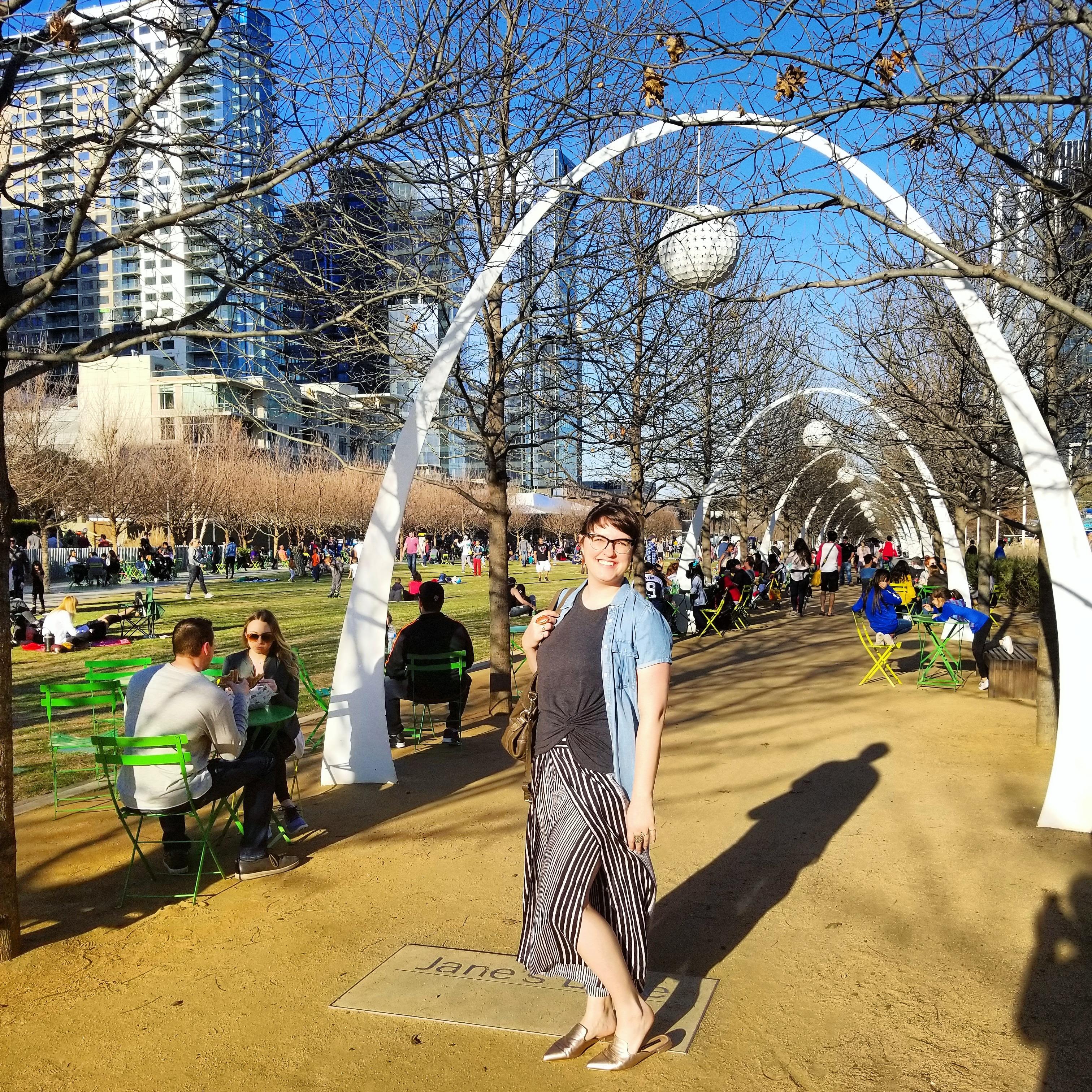 Megan at Klyde Warren Park Dallas Texas