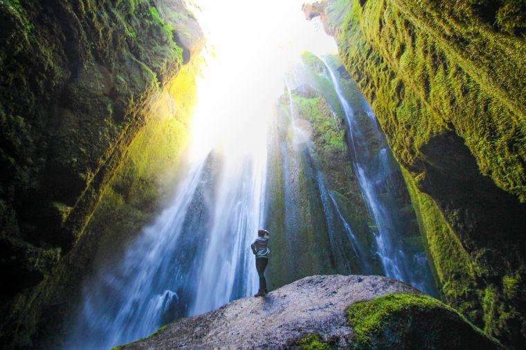 Gljúfrabúifoss Waterfalls in Cave Iceland