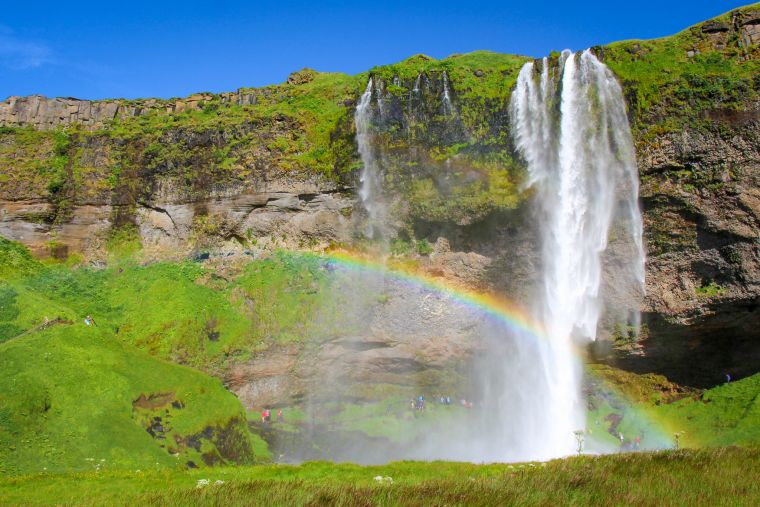 Seljalandsfoss Waterfalls with Rainbow Iceland