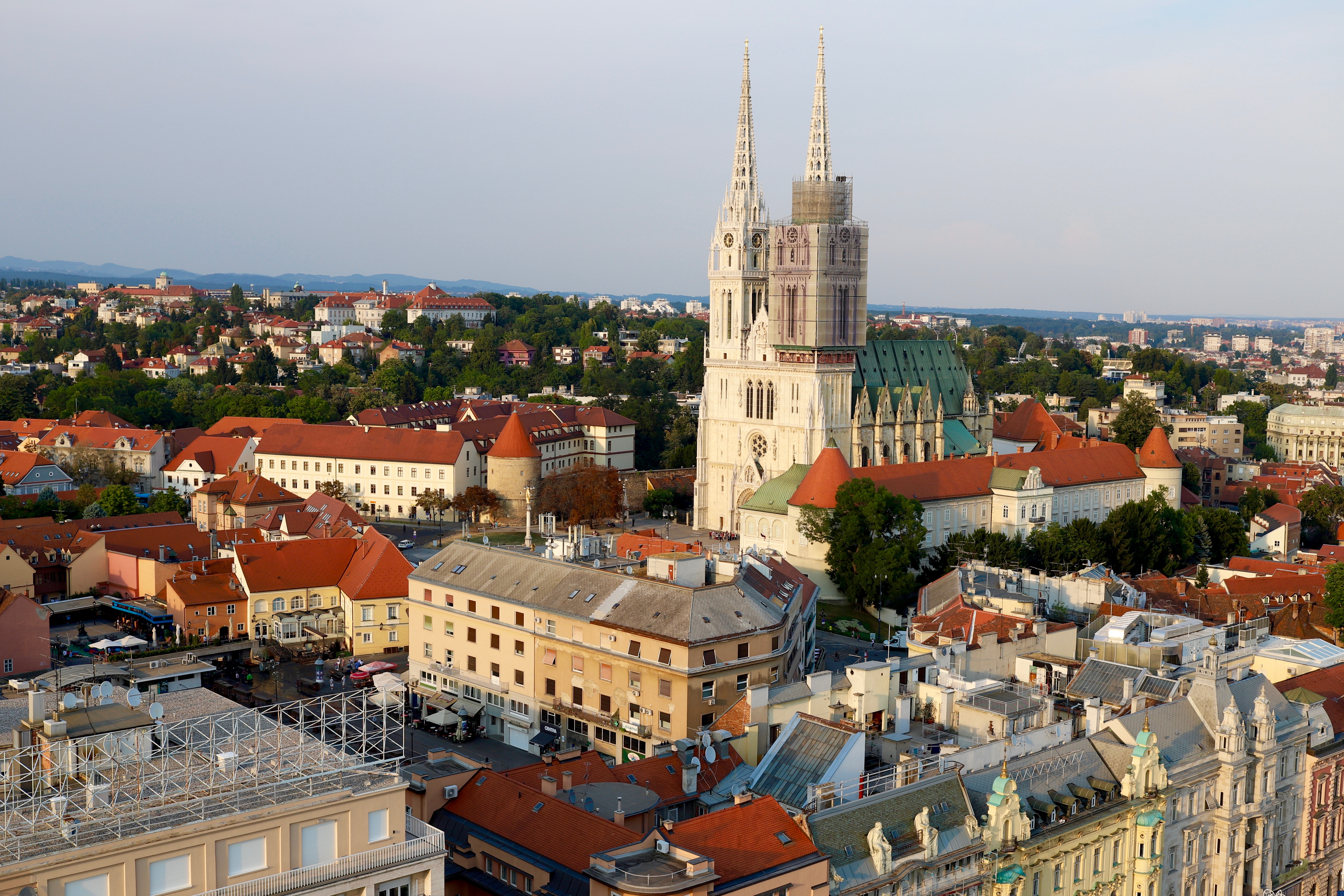 Cathedral at Sunset in Zagreb Croatia