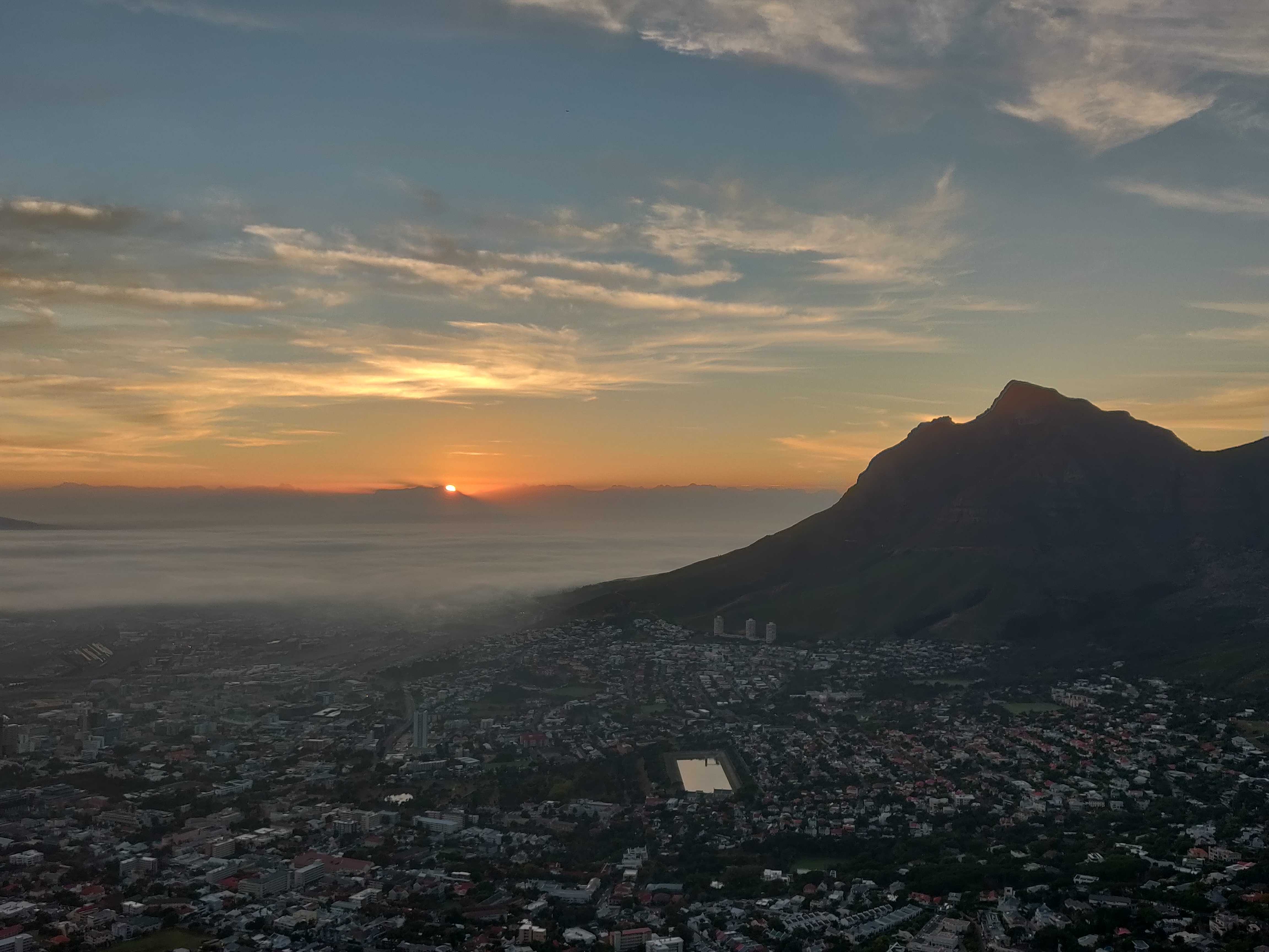 Views from Lions Head at Sunrise in Cape Town South Africa