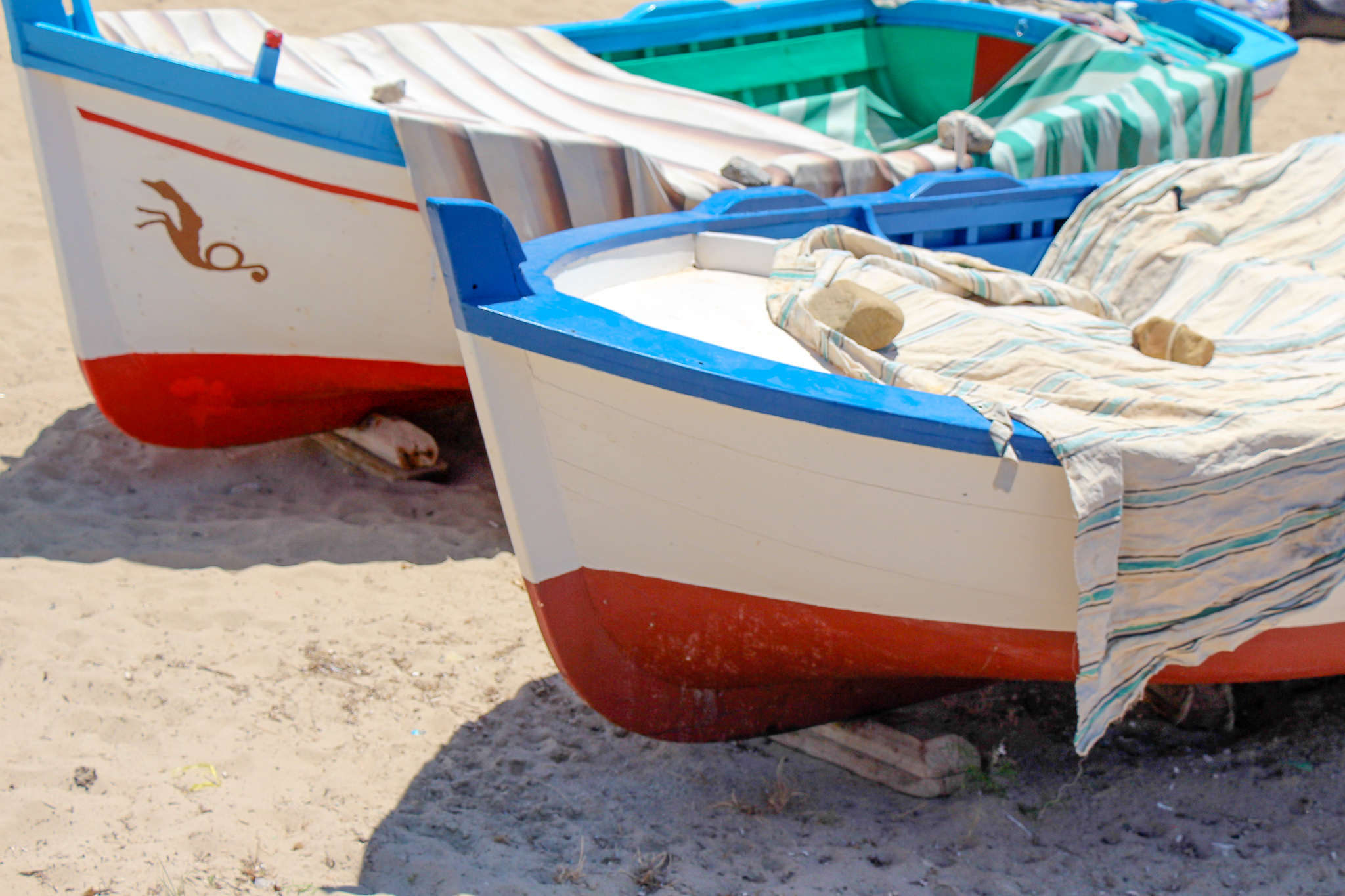 Boats on Beach Cefalu Sicily Italy
