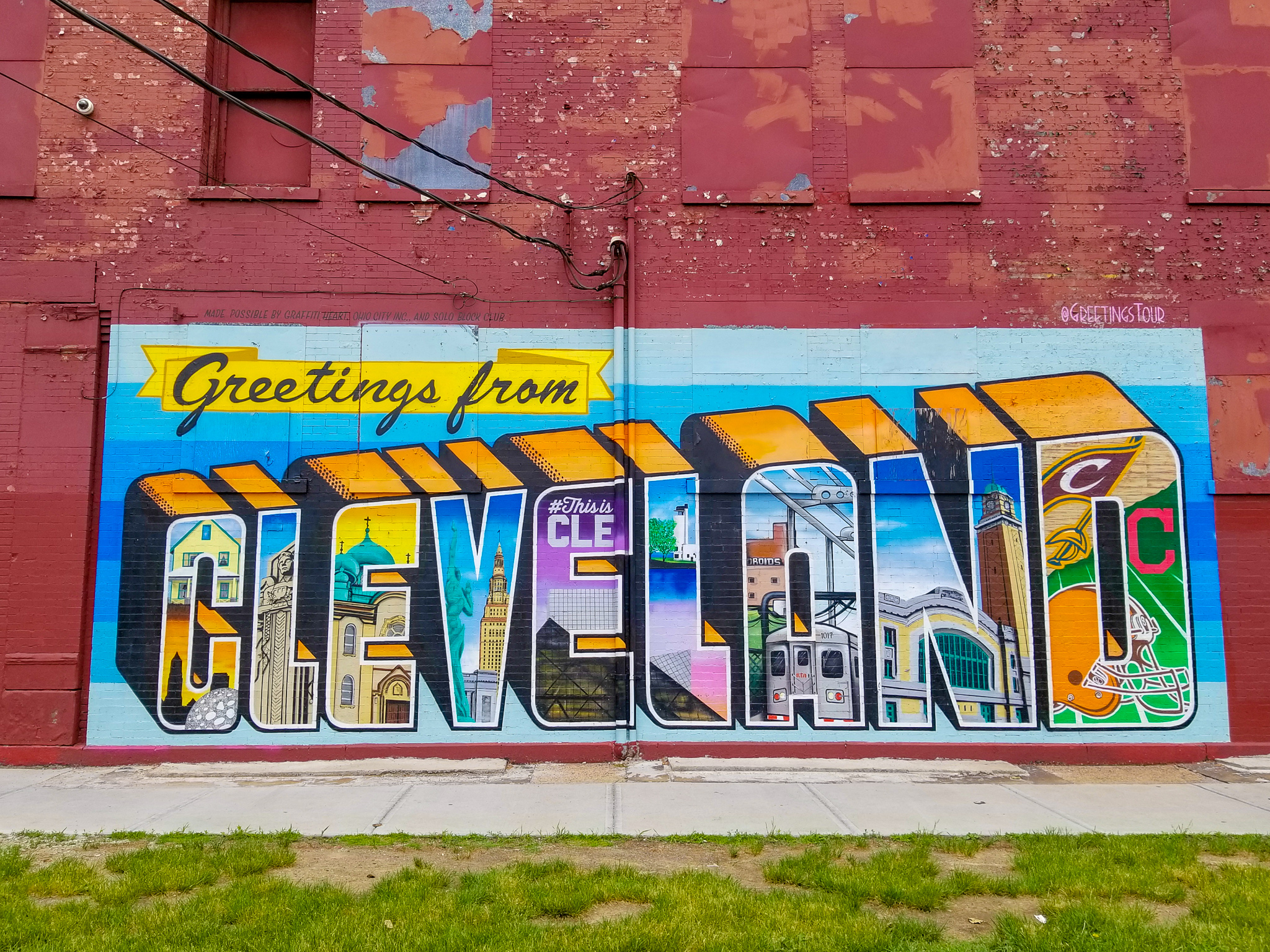 Greetings from Cleveland Ohio Street Art Sign