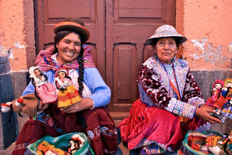 Peruvian Women Selling Dolls in Arequipa Peru