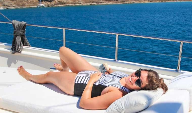 Woman in Sunglasses Sailing in Greek Islands