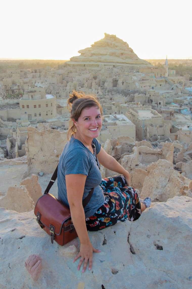 Woman Overlooking Siwa Oasis Western Egypt