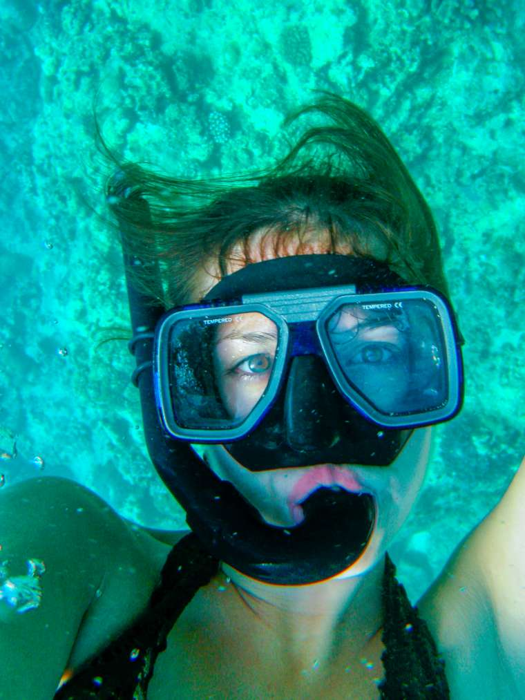 Megan Snorkeling in Coral Reef