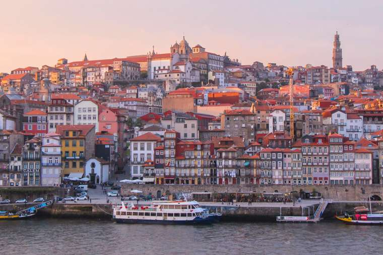 Porto Waterfront at Sunset Portugal
