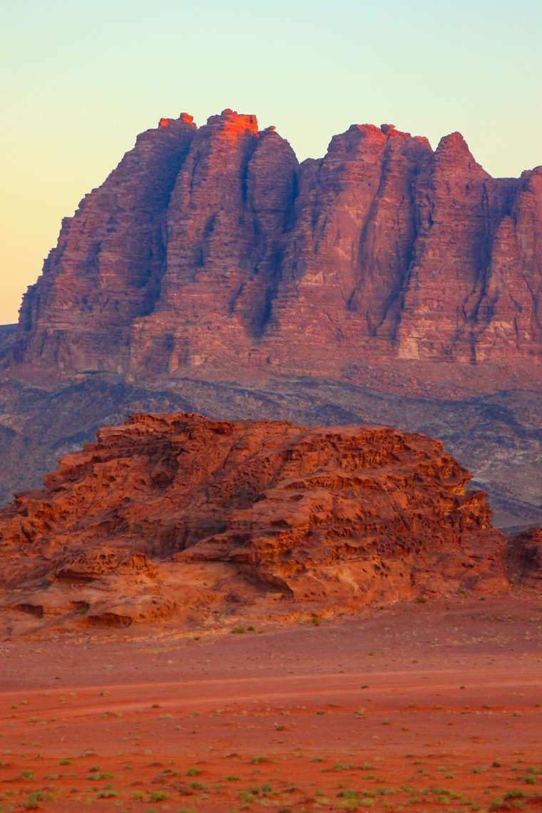 Wadi Rum Desert Scenery at Sunset Jordan