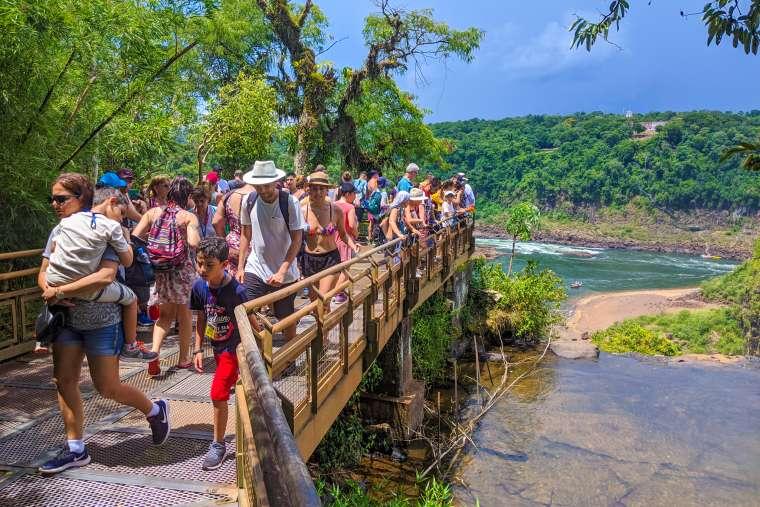 Crowded Walkways at Iguazu Falls Brazil Argentina