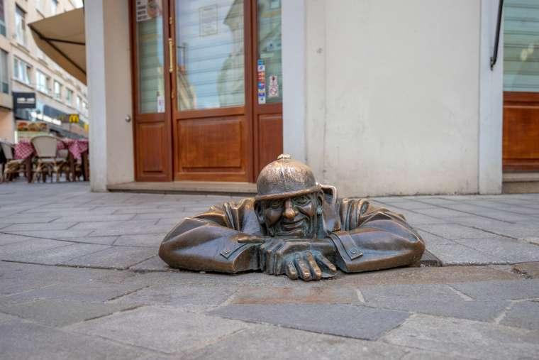 Man at Work Statue Bratislava Slovakia