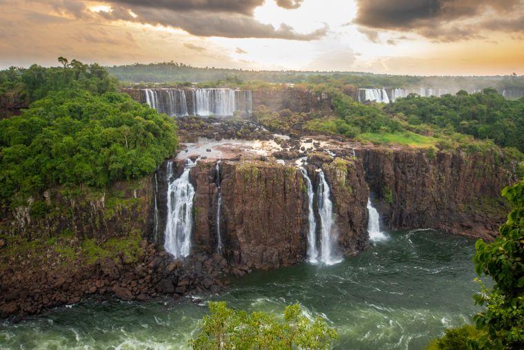 Iguazu Falls at Sunset Brazil