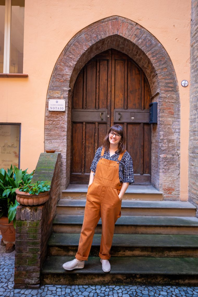 Woman in Overalls in Bologna Italy